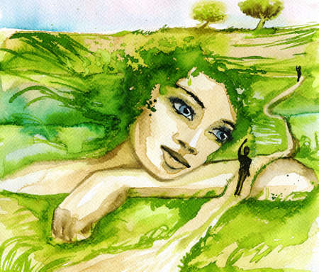 mother earth: Abstract watercolor illustration depicting a portrait of a woman.