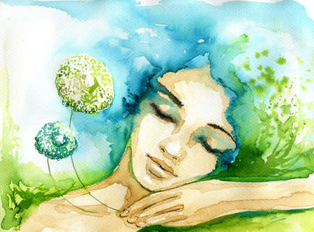 beautiful face: Abstract watercolor illustration depicting a portrait of a woman.