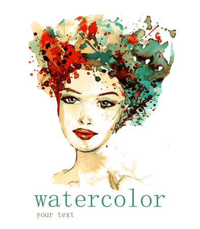abstract portrait: vector illustration watercolor