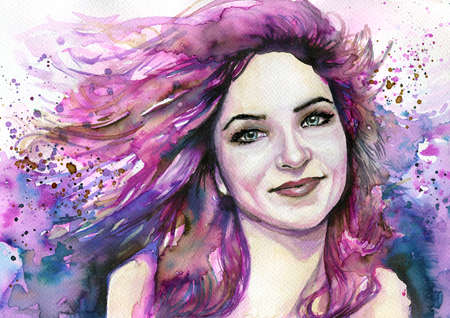 article: Watercolor portrait of a woman.