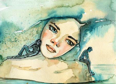 personas pensando: retrato de la acuarela de una mujer.