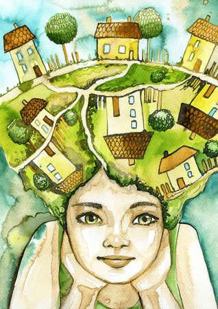 childchood: Watercolor portrait of a child,