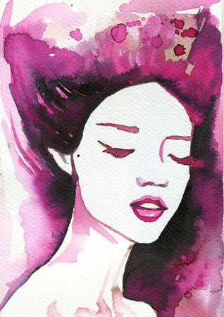 pretty eyes: Illustration of a beautiful woman painted watercolor paints.