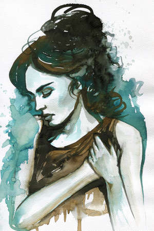 Watercolor portrait sad woman.