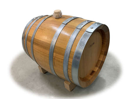 Robinia wooden barrel isolated on white background
