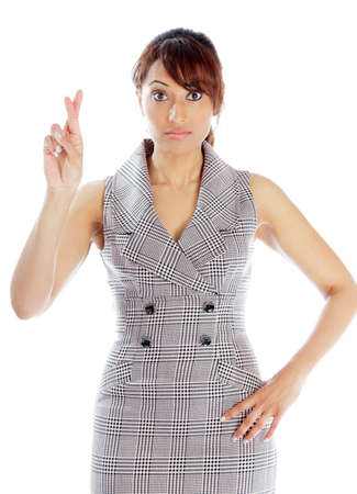 Indian business woman posing in studio isolated on a background photo