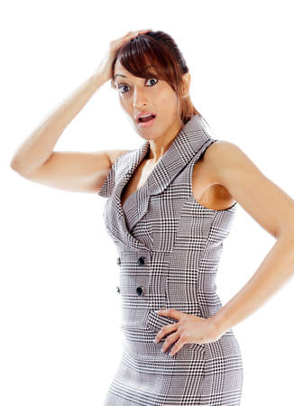 Indian business woman posing in studio isolated on a background