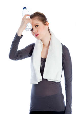 Attractive caucasian woman wearing a sport outfit in her 30 isolated on a white background