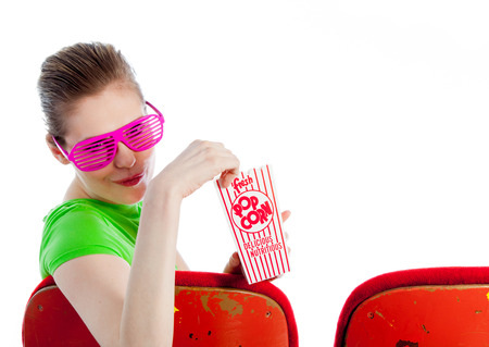 Attractive caucasian woman in the theatre in her 30 isolated on a white background photo