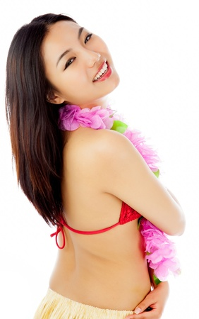 Attractive asian girl in her twenties isolated on a plein background shot in a studio photo