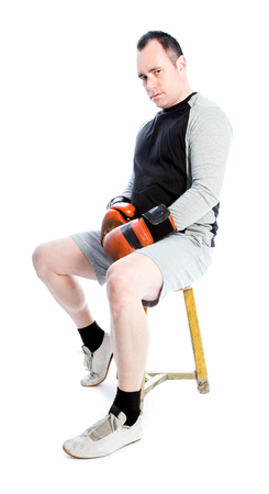 Caucasian boxer 40 years old isolated on a white background photo