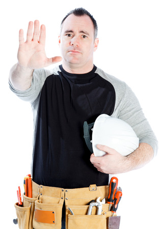 Caucasian contractor male 40 years old shot in studio isolated on white background photo
