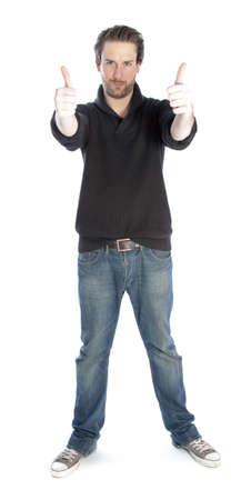 스튜디오에서 촬영 매력적인 30 살 고 Caucasion 남자는 흰색 배경에 고립