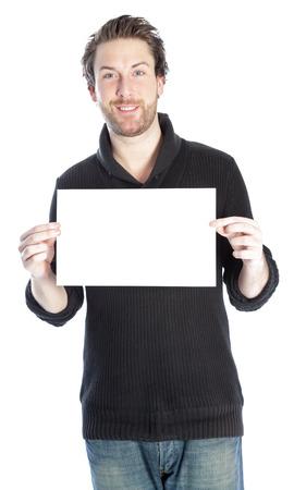 Aantrekkelijke 30 jaar oud caucasion man neergeschoten in de studio op een witte achtergrond