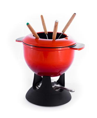 fondue set geïsoleerd op een witte Stockfoto