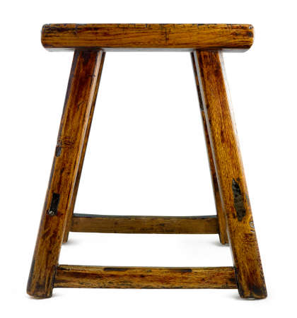 antique asian: antique asian stool isolated on a white Stock Photo