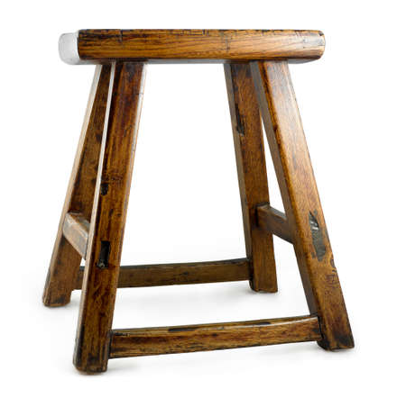 stool: antique asian stool isolated on a white background