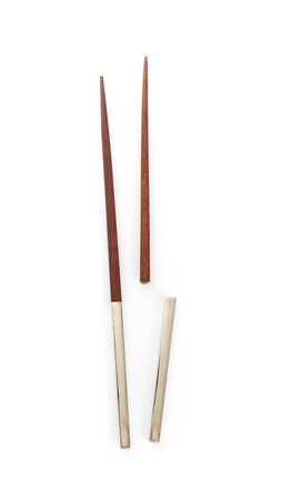 top view of broken chopsticks isolated on a white background