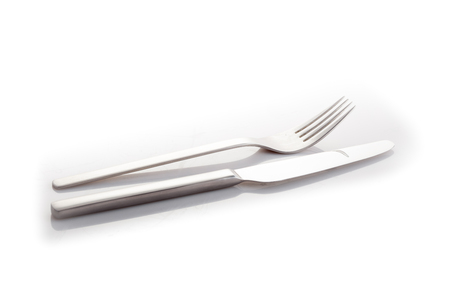 stainless knife and fork isolated on a white background