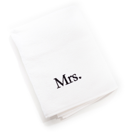 mr and mrs: mrs white towels isolated on a white background