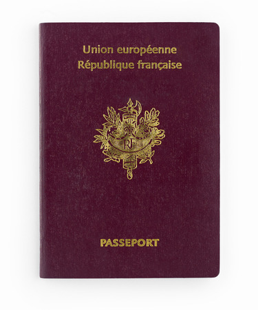 frans paspoort geïsoleerd op een witte achtergrond Stockfoto