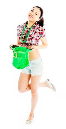 irish ethnicity: Sexy attractive asian girl country cowgirl outfit posing in studio Stock Photo