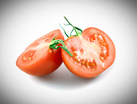 half tomato isolated on a white background