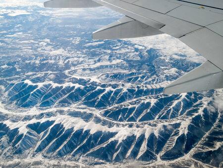 canadian rockies: Aerial view of mountain range viewed from airplane, Albertas Rockies, Canadian Rockies, Alberta, Canada