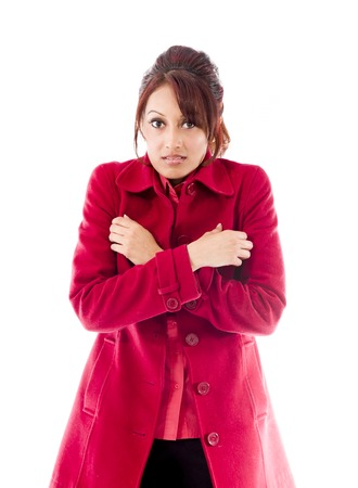shivering: Indian young woman shivering Stock Photo