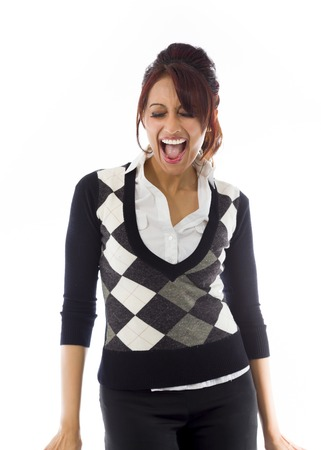 Indian businesswoman screaming in excitement
