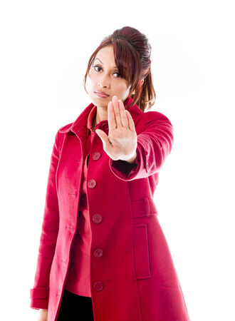 stop gesture: Indian young woman showing stop gesture