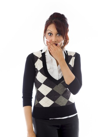 raised eyebrows: Shocked Indian young woman with hand over mouth isolated on white background