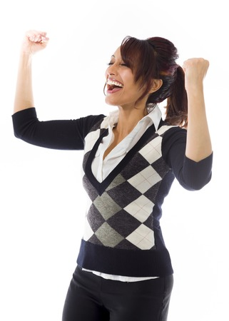 closed fist sign: Indian businesswoman celebrating success Stock Photo