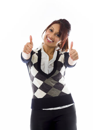 Indian businesswoman showing thumbs up from both hands isolated on white background photo