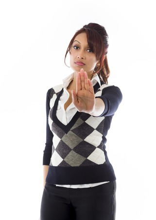 stop gesture: Indian businesswoman making stop gesture and showing stop Stock Photo