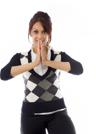 Indian businesswoman welcoming with hands joined Stock Photo