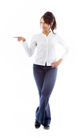Indian young woman pointing sideways