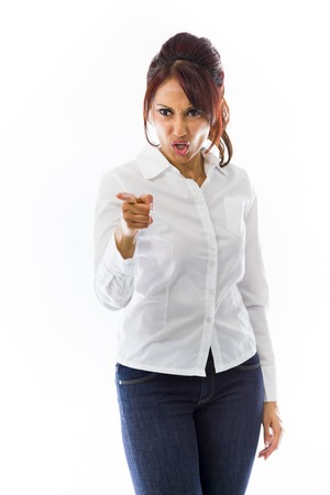 reprimanding: Angry Indian young woman scolding somebody Stock Photo
