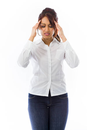 Indian young woman suffering from headache