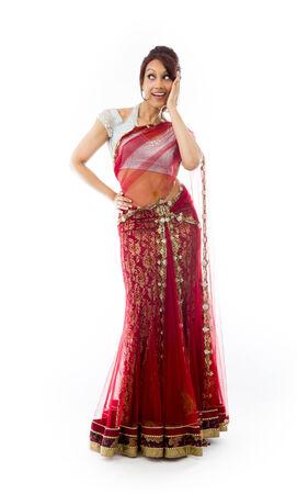 raised eyebrows: Surprised Indian woman looking happy