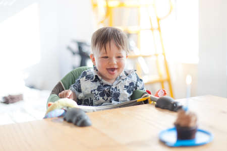 Boy looking at a birthday cake photo