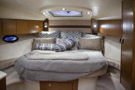 Bed in a speedboat Stockfoto