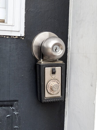 Close-up of a combination lock in a doorknob Stock Photo
