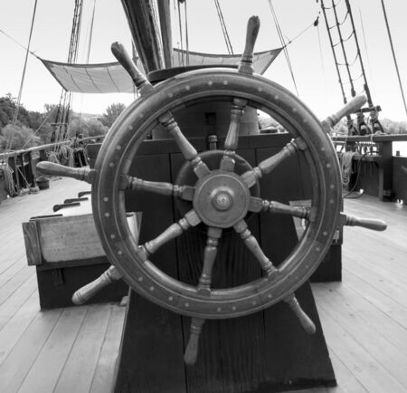 tall ship: Close-up of helm of a tall ship