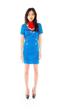 stewardess: Asian air stewardess looking angry