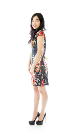 Asian young woman turning back isolated on white background