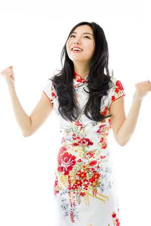 Asian young woman celebrating success