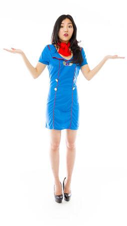 stewardess: Asian air stewardess looking shocked