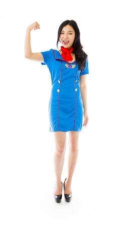 only the biceps: Asian air stewardess flexing biceps Stock Photo