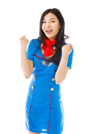 Asian air stewardess celebrating success